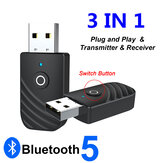 ENKAY SY319 bluetooth 5.0 Audio Receiver Transmitter Adapter 3 In 1 Mini 3.5mm Jack AUX USB Stereo Music Wireless Adapter for TV Car PC Headphones