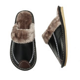 Men's Winter Slippers Leather Comfy Warm Shoes Anti-slip Indoor Flats