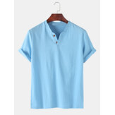 Men 100% Cotton Solid Color Short Sleeve Casual Henley Shirts