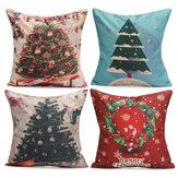 43X43 centímetros da árvore de Natal decoração fronha lençóis de algodão moda presente bonecos de Papai Noel casa