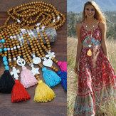 Boheemse houten kralen kwast ketting geometrische hart ster vlinder Turquoise hanger lange ketting