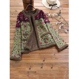 Vintage Floral Print O-neck Long Sleeves Thick Coats Jacket
