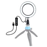 Puluz PU378 USB 6.2 Inch 3 Modes 3200K-5500K Dimmable LED Video Ring Light with Cold Shoe Tripod Ball Head for Youtube Tiktok Live Streaming
