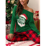 Women Christmas Letter Graphics Long Sleeve Pullover Plaid Elastic Waist Jogger Pants Home Pajama Set