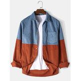 Herren Cord Patchwork einfarbig Button Up Langarm Cargo Shirts