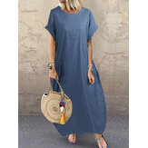 Mulheres casual manga curta aconchegante solta denim maxi dress
