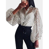 Chic Polka Dot Print Puff Sleeve See Through Blouse