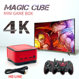 ANBERNIC 64GB 4K HD Bluetooth 2.4G Mini Magic Club Videogameconsole met 2 bekabelde gamepads Ondersteuning PS1 GBA NEOGEO FC Games