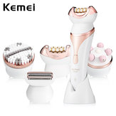 Kemei 4 In1 Rechargeable Hair Remover Depilator Massager