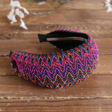 Bohemian Style Wide Hair Hoop Headband Ethnic Style Colorful Striped Fabric Hair Hoop Travel Home Leisure Hair Band