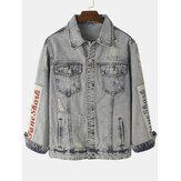Mens Vintage Distressed Ripped Patch Casual Cotton Denim Jacket