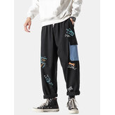 Mens Cotton Graffiti Print Multi-Pocket Loose Fit Drawstring Waist Cargo Pants