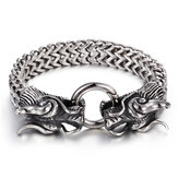 Silver Dragon Head Cuff Bangle Bracelet