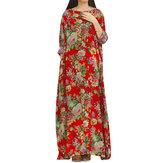 レトロな花柄プリント床長さのドレス