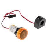 3pcs Luz amarilla 2in1 22mm AC50-500V 0-100A Amperímetro Voltímetro Amperímetro Voltaje Medidor de corriente con CT Au23