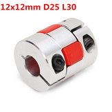 12mmx12mm Aluminum Flexible Spider Shaft Coupling OD25mm x L30mm CNC Stepper Motor Coupler Connector