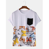 Herenmode Casual vlinderprint Patchwork Pocket T-shirts met ronde hals