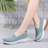 Women Comfortable Mesh Slip On Pattern Sport Walking Shoes