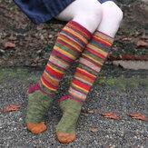 Frauen Baumwolle Farbe Streifenmuster Casual Fashion Halloween Weihnachten Kniestrümpfe Strümpfe