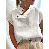 Camisas de manga corta con cuello alto y botones en color liso