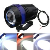 12V 30W Motorcycle U3 LED Angel Eye Driving Fog Spot Headlights Hi/Lo Flash Lamp