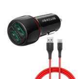 BlitzWolf® BW-SD5 18W Dual-Port QC3.0 Mini Car USB Charger With BW-TC14 3A USB Type-C Cable Fast Charging for Huawei P30 P40 Pro Mi10 OnePlus 8Pro