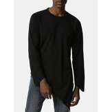 Mens Solid Color Round Neck Long Sleeve Asymmetrical Hem Simple T-Shirts