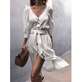 Women Solid Color Button V-neck 3/4 Sleeve Casual Dress