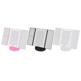 Tri-fold 1x / 2x / 3x / 10x 22 luce a led Ingrandisci Make-up Specchio cosmetico Beauty Touch Screen