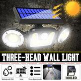 Induction à trois têtes 83 COB LED Lampe solaire de jardin de chemin de lumière de rue de mur pour l'usage extérieur