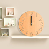Round Wood Wall Clock Living Room Bedroom