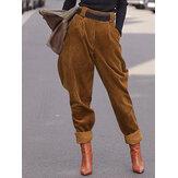 سروال قصير نسائي سادة اللون بنطلون خصر مرن غير رسمي بجيب