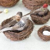 12 Stks Clip Vintage Leuke Vogel Veer Kerstboom Festival Bauble Geschenk Decoraties