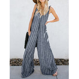 Women V-neck Sleeveless Striped Pockets Wide Legged Jumpsuit