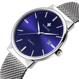 WWOOR 8826 Ultra Thin Calendar Stainless Steel Quartz Watch