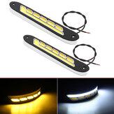 2Pcs 12V COB LED Car DRL Daytime Running Lights Strip Yellow & White Dual Color Turn Signal Fog DayLight