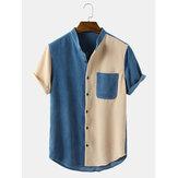 Męskie koszule sztruksowe w stylu vintage ze stójką