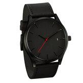 Повседневная мода Большой циферблат с календарем матовый PU кожаный ремешок мужские наручные часы кварцевые часы