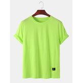 Original              Camisetas de manga corta transpirables lisas de color liso para hombre