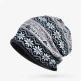 Women Plus Snowflake Print Multi-purpose Beanie Hats Scraf Outdoor Warm Cap Collar