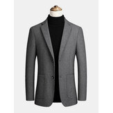 Mens Woolen Single-Breasted Big Pocket Lapel Thick Business Trench Coats
