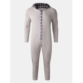 Mens Splicing Plaid Cute Hooded Button Up Front One Piece Jumpsuits Home Sleepwear