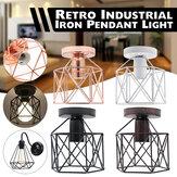 Plafoniera in ferro E27 retrò a 4 colori con montatura semi-filo, lampadario artigianale