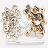 22pcs 15mm metal lona fivela rápida snap fastener botões kits