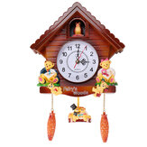 CucodemadeiraantigoparedeRelógio pássaro tempo sino balanço relógio de alarme de parede decoração de casa