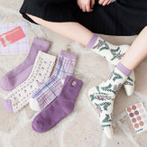 Women Cotton Thick Embroidery Multi Pattern Cute Casual Warm Tube Socks
