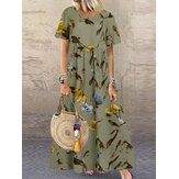 Vintage Floral Print Short Sleeve Loose Casual Maxi Dress