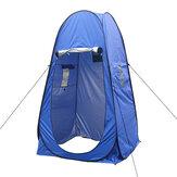 Barraca de chuveiro de privacidade de poliéster Barraca de acampamento à prova d'água Abrigo solar à prova de UV Praia Tenda com dossel com duas janelas