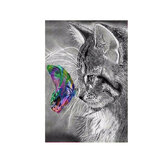 5D Cat Art DIY Pintura Diamante Gato Borboleta Bordado Meow Kit Craft Home Decor Gift