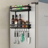 2 уровня Кухня Холодильник Хранения Стеллаж Холодильник Приправы Органайзер Полка Повесить
